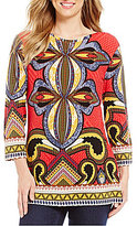 Multiples Boat-Neck Elbow Sleeve Placement Print Tunic