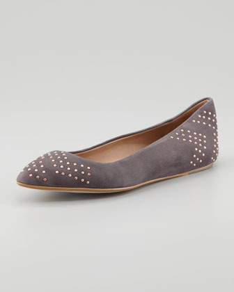 Ella Moss Savan Pointed-Toe Flat, Steel