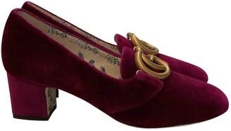 Gucci Marmont Burgundy Velvet Heels