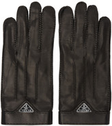 Prada Black Leather Logo Gloves
