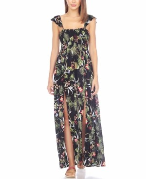 Raviya Printed Smocked Cover-Up Maxi Dress Women's Swimsuit