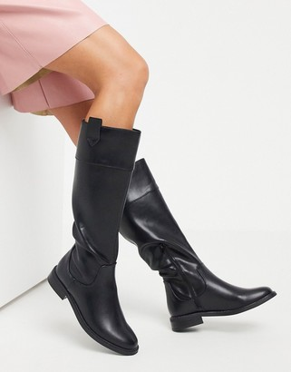 ASOS DESIGN Carrie flat riding knee boots