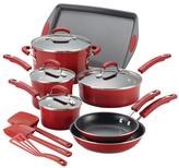Rachael Ray Porcelain II Nonstick 14-Piece Cookware Set, Red Gradient