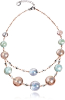 Antica Murrina Veneziana Redentore 3 - Pink & Green Murano Glass and Silver Leaf Choker