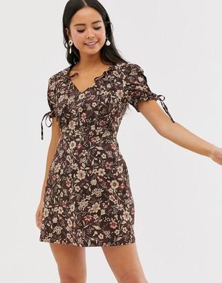 Glamorous tie sleeve tea dress in vintage floral-Brown