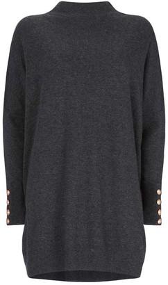 Mint Velvet Grey High Neck Knitted Tunic