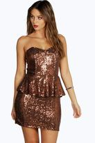 Boohoo Boutique Claudia Sequin Peplum Dress
