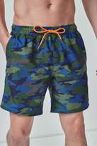 Mens Next Camo Print Swim Shorts - Green