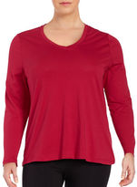 Lord & Taylor Plus Cotton V-Neck Tee