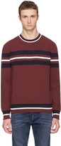 Diesel Black Gold Burgundy Stripe Crewneck Sweater