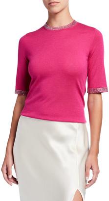 Neiman Marcus Crystal Trim Elbow-Sleeve Crewneck Super Fine Sweater