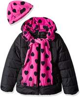 Pink Platinum Little Girls' Puffer Jacket with Heart Print Lining and Accessories