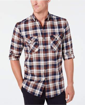 Club Room Men Stretch Brushed Cotton Plaid Flannel Shirt