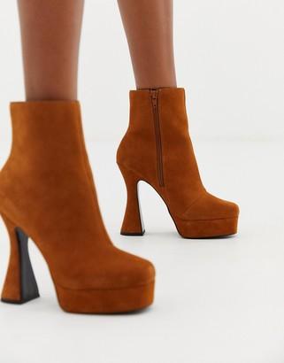 Asos Design DESIGN Equality suede platform boots-Tan