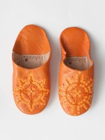 Bohemia Moroccan Babouche Sequin Slippers Orange Large - leather