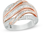 Zales 1 CT. T.W. Baguette and Round Diamond Crossover Multi-Row Ring in 14K Rose Gold