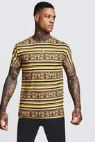 BoohooMAN Gold Stripe Baroque T-Shirt