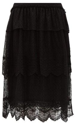 Simone Rocha Tiered-lace Midi Skirt - Womens - Black