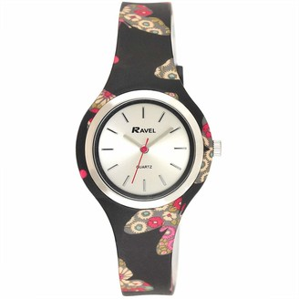 Ravel Women's Floral Quartz Watch with Patterned Silicone Strap - Black