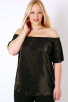 Yours Clothing SIENNA COUTURE Black Shimmer Plisse Bardot Top