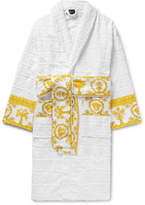 Versace - Satin-Trimmed Logo-Jacquard Cotton-Terry Robe