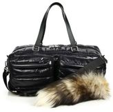 Moschino Quilted Nylon & Fur Puffer Bag