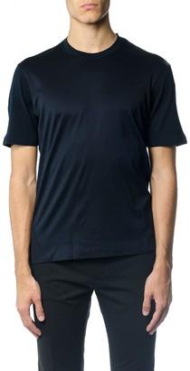 Ermenegildo Zegna Round Neck Blue Cotton T-shirt
