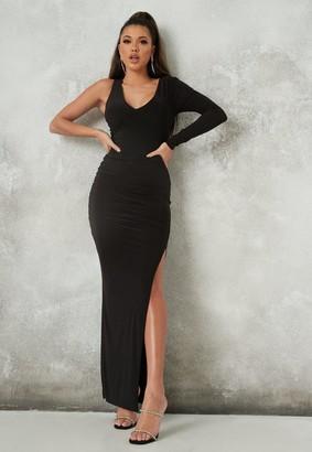 Missguided Black One Shoulder Seam Detail Maxi Dress