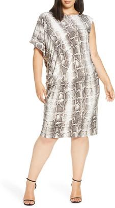 Coldesina Tracy Python Print Side Drape Shift Dress