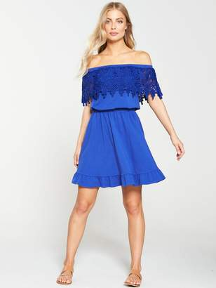 Very Scallop Lace Bardot Dress - Cobalt Blue