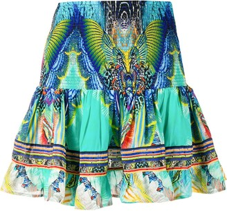 Camilla Reef Warrior-print silk skirt