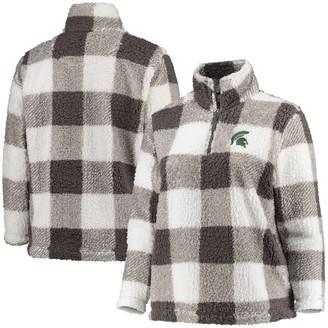 Women's Gray/Cream Michigan State Spartans Plus Size Plaid Sherpa Quarter-Zip Pullover Jacket