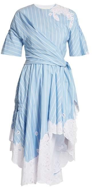 Jonathan Simkhai Striped Cotton And Silk Blend Dress - Womens - White/blue