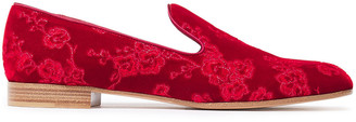 Gianvito Rossi Embroidered Suede Slippers