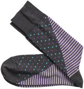 Johnston & Murphy Mixed Stripe/Dot Socks