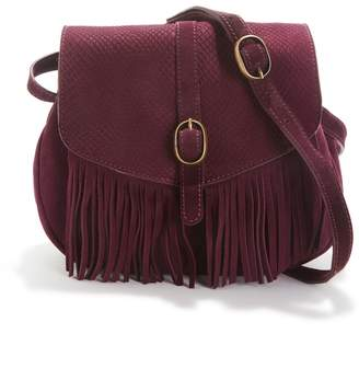 La Redoute Collections Small Suede Cross Body Bag with Fringing
