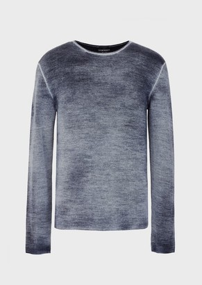 Emporio Armani Wool And Cashmere Blend Sweater With Airbrush Dye