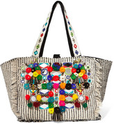Antik Batik Udipi Embellished Woven Cotton Tote - Off-white