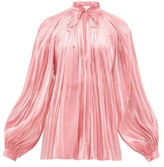 Rhode Resort Adele Plisse Lame-satin Blouse - Womens - Pink