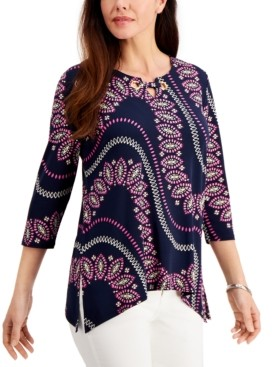 JM Collection Petite Grommet-Neck Printed Tunic, Created for Macy's