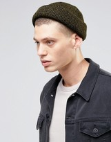Asos Mini Fisherman Beanie In Khaki Twist