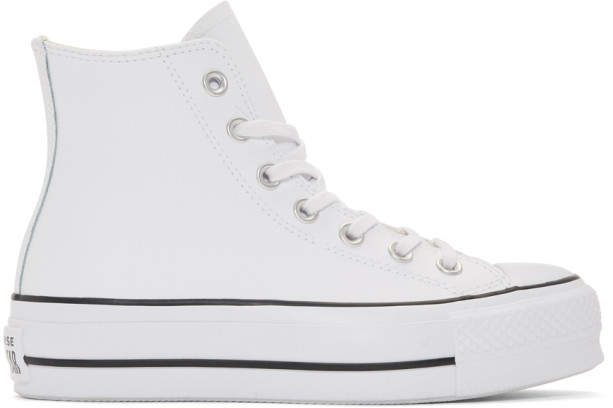 White Leather Chuck Taylor All Star Lift Sneakers