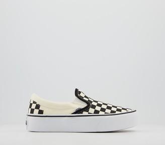 Vans Classic Slip On Platform Trainers Black White Checker