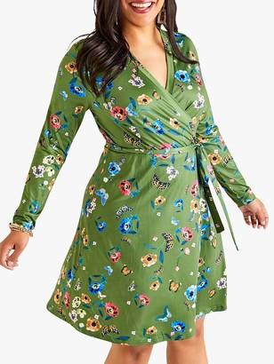 Yumi Curves Floral Wrap Dress, Green
