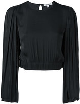 Elizabeth and James pleated sleeve cropped blouse