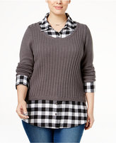 Style&Co. Style & Co. Plus Size Plaid-Inset Layered-Look Sweater, Only at Macy's