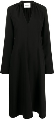 Jil Sander V-Neck Midi Dress