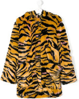 Kenzo tiger stripe faux fur hooded coat - kids - Cotton/Acrylic/Polyester - 14 yrs