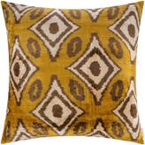 Les Ottomans - Velvet Cushion - 60x60cm - Ochre Diamond Pattern