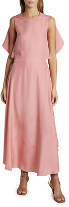 Stella McCartney Satin Sleeveless Cape-Back Midi Dress